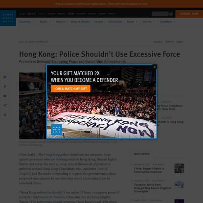 Hong Kong: Police Shouldn't Use Excessive Force