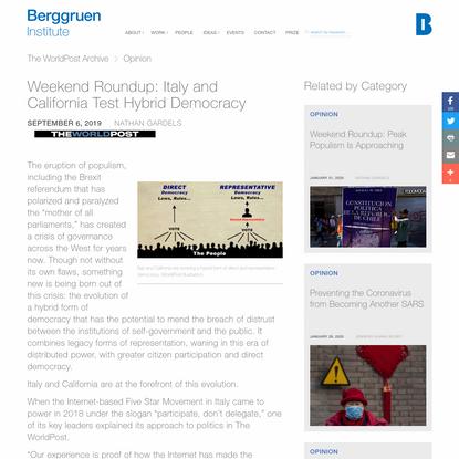 Weekend Roundup: Italy and California Test Hybrid Democracy - The WorldPost - Berggruen Institute