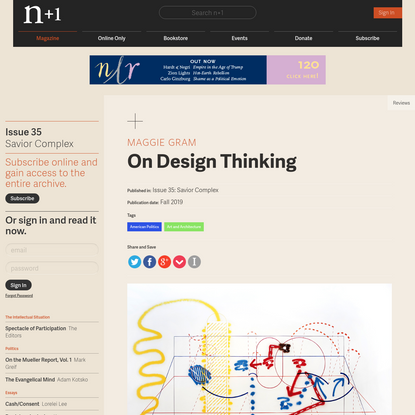 On Design Thinking | Issue 35 | n+1