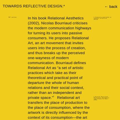Towards reflective design - Arthur Röing Baer