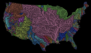 Rivers basins [watersheds] of the US in rainbow colours, by Imgurian Fejetlenfej