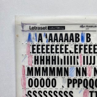 64pt Franklin Gothic Condensed Spacematic Heat Resistant Letraset Instant Lettering (Detail). Made in England by Letraset. T...
