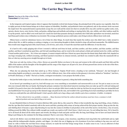 The Carrier Bag Theory of Fiction by Ursula K. Le Guin