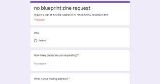 no blueprint zine request
