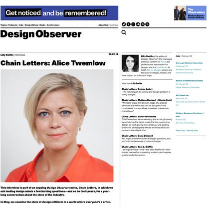 Chain Letters: Alice Twemlow: Design Observer