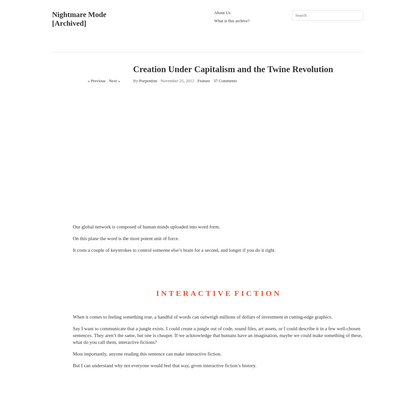 Creation Under Capitalism and the Twine Revolution