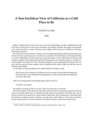 Ursula K. Le Guin - A Non-Euclidean View Of California As A Cold Place To Be