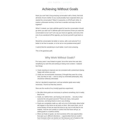 Achieving Without Goals : zen habits