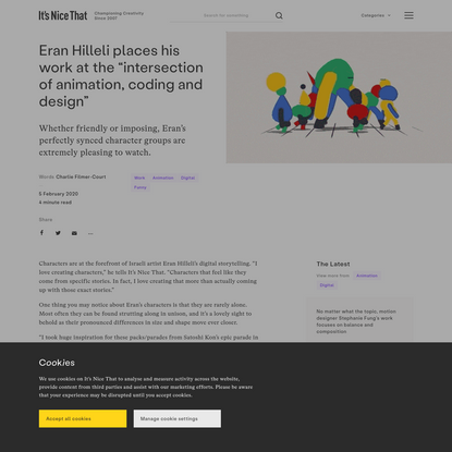 """Eran Hilleli places his work at the """"intersection of animation, coding and design"""""""