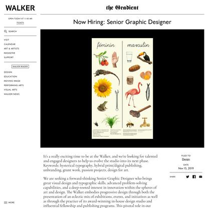 Walker Art Center, Senior Graphic Designer, Minneapolis