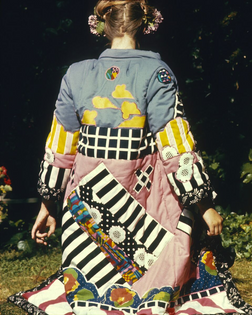 Frances Butler, Quilted Coat, c. 1969–70. Fabric, dye, dimensions variable. Photograph by Marc Treib s.v.p. Courtesy of the artist. Image courtesy of the Berkeley Art Museum and Pacific Film Archive.