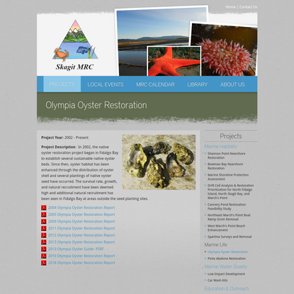 Olympia Oyster Restoration