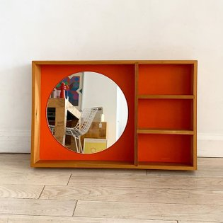 Vintage 1970s Douglas Fir and atomic orange laminate wall shelf, from Denmark, SOLD. ❤️🧡💕 Has 2 hooks on back to hang. 〰〰〰 #...