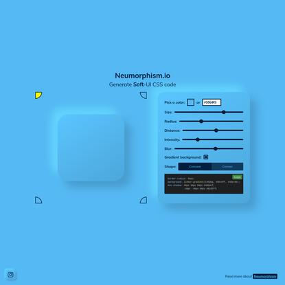 Neumorphism/Soft UI CSS shadow generator