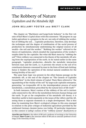 The Robbery of Nature Capitalism and the Metabolic Rift - INTRODUCTION - John Bellamy Foster and Brett Clark