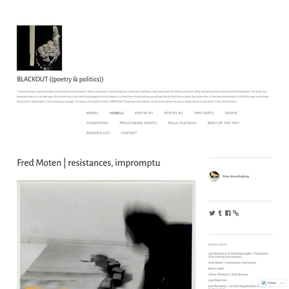 Fred Moten | resistances, impromptu