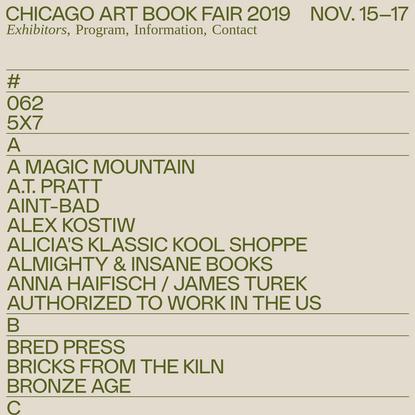 Chicago Art Book Fair 2019 - Exhibitors