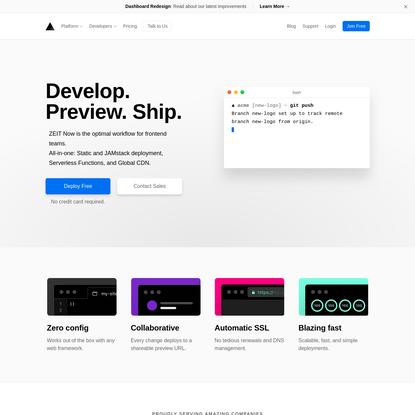 Develop. Preview. Ship. - ZEIT