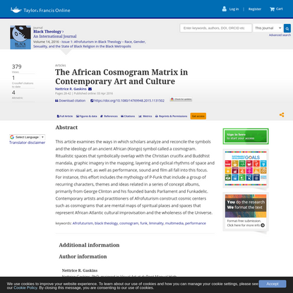 The African Cosmogram Matrix in Contemporary Art and Culture
