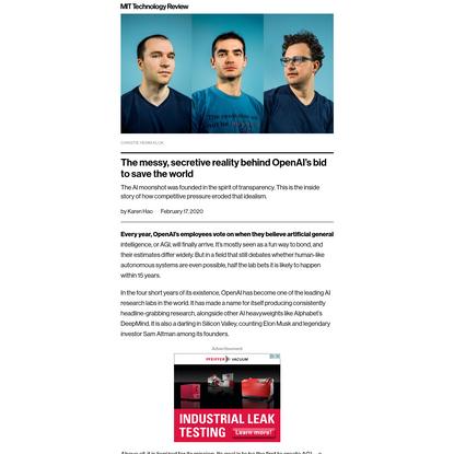 The messy, secretive reality behind OpenAI's bid to save the world