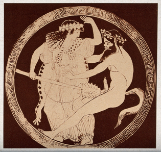 A depiction of a male figure with the tail of an animal and a laurel wreath on his head entertaining a female companion. Process print.