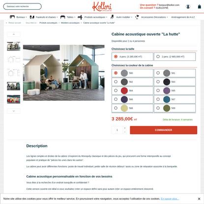 """Cabine acoustique ouverte """"La hutte"""" - Produits acoustiques/Mobiliers acoustiques - Kollori.com"""