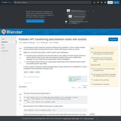 PyNodes API: transferring data between nodes with sockets
