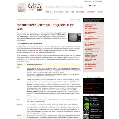 Manufacturer Takeback Programs in the U.S. - Electronics TakeBack Coalition