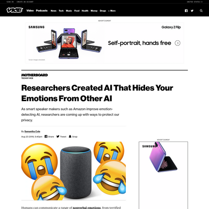 Researchers Created AI That Hides Your Emotions From Other AI