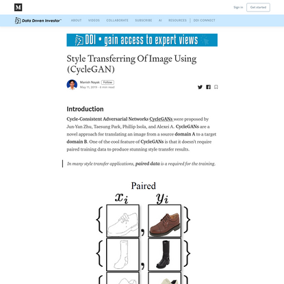 Style Transferring Of Image Using (CycleGAN)