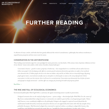 Readings - An ECOMODERNIST MANIFESTO