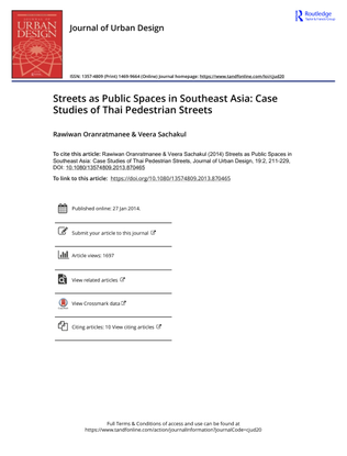 Streets as Public Spaces in Southeast Asia, Rawiwan Oranratmanee