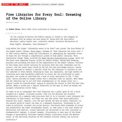 Free Libraries for Every Soul: Dreaming of the Online Library | Memory of the World