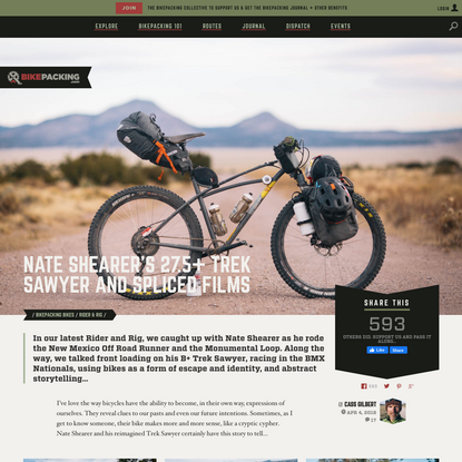 Nate Shearer, his B+ Trek Sawyer, and his films - BIKEPACKING.com