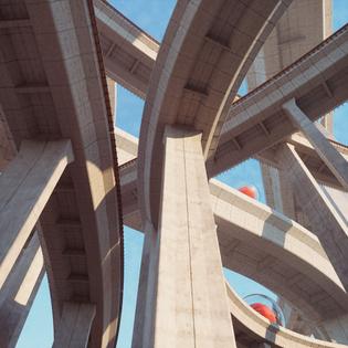 concrete heavy bridge street urban bold futuristic
