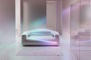 aura interior design light mirror plastic iridescent holographic minimalistic clean mysterious dreamy