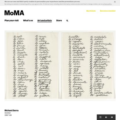 Richard Serra. Verblist. 1967-68   MoMA