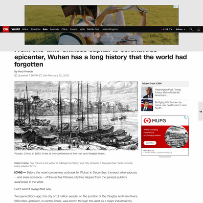 A history of Wuhan, one-time Chinese capital and coronavirus epicenter - CNN