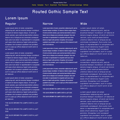 Routed Gothic Sample Text