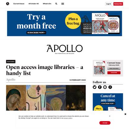 Open access image libraries - a list   Apollo Magazine