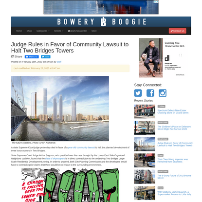 Judge Rules in Favor of Community Lawsuit to Halt Two Bridges Towers