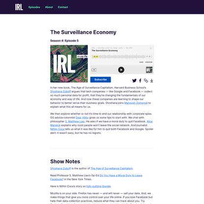 IRL Podcast: The Surveillance Economy