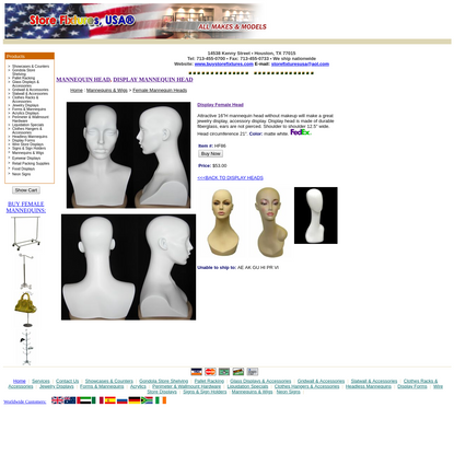 Boutique Display Bust, Ladies Display Fashion Accessory Bust, Mannequin Head