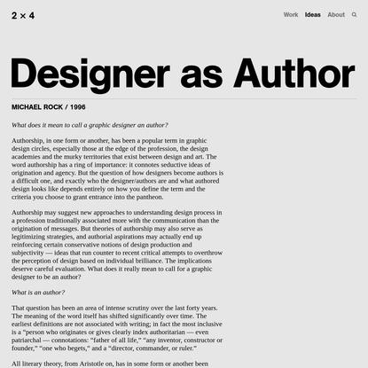 Designer as Author - 2x4
