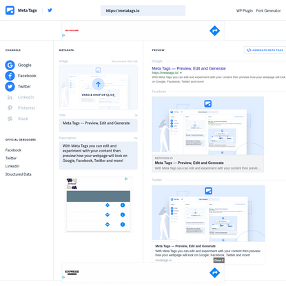 Meta Tags - Preview, Edit and Generate