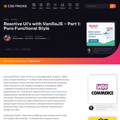 Reactive UI's with VanillaJS - Part 1: Pure Functional Style | CSS-Tricks
