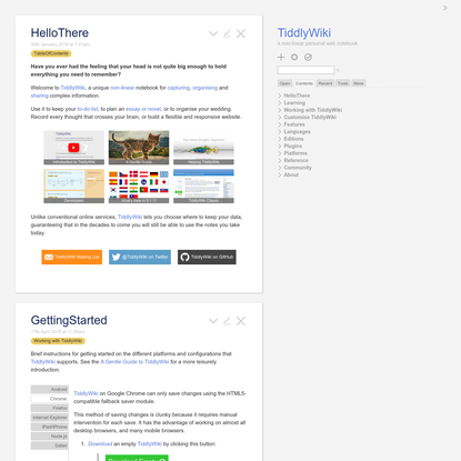 TiddlyWiki - a non-linear personal web notebook