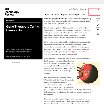 Gene Therapy Is Curing Hemophilia