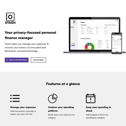 Stash | Your privacy-focused personal finance manager built on encrypted, Blockchain-secured technology.