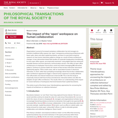 The impact of the 'open' workspace on human collaboration | Philosophical Transactions of the Royal Society B: Biological Sciences